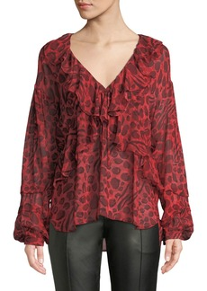IRO Realize Animal-Print Ruffle Long-Sleeve Top