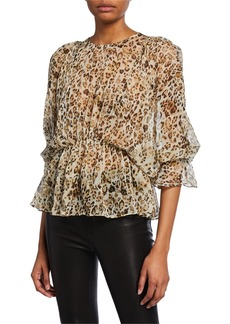 IRO Saggi Animal-Print Silk Blouse