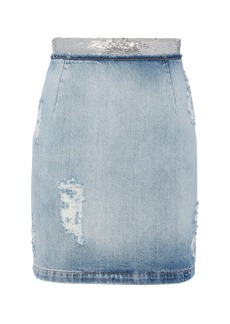 IRO Sequin-Embellished Denim Pencil Skirt