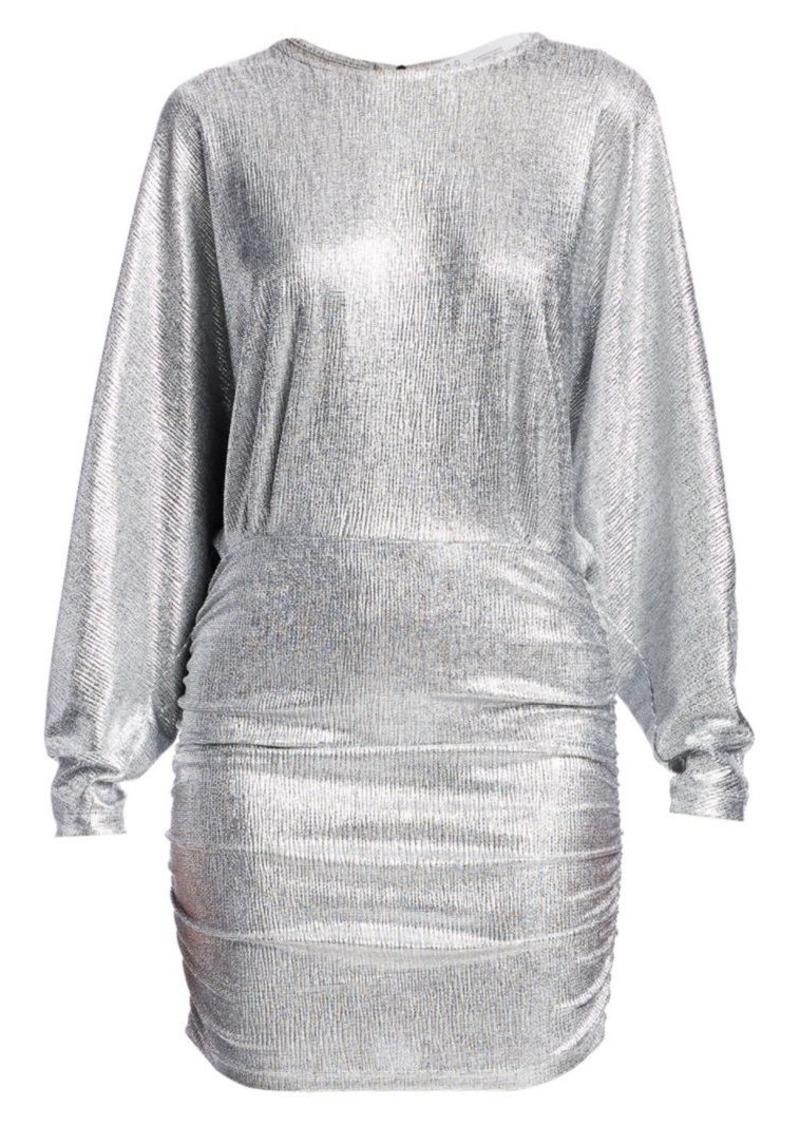 IRO Silar Metallic Long-Sleeve Mini Dress