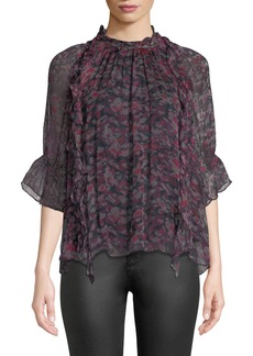 IRO Snare Printed Silk 3/4-Sleeve Ruffle Top