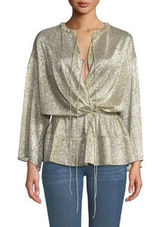 IRO Spacious Tie-Front Metallic Long-Sleeve Top