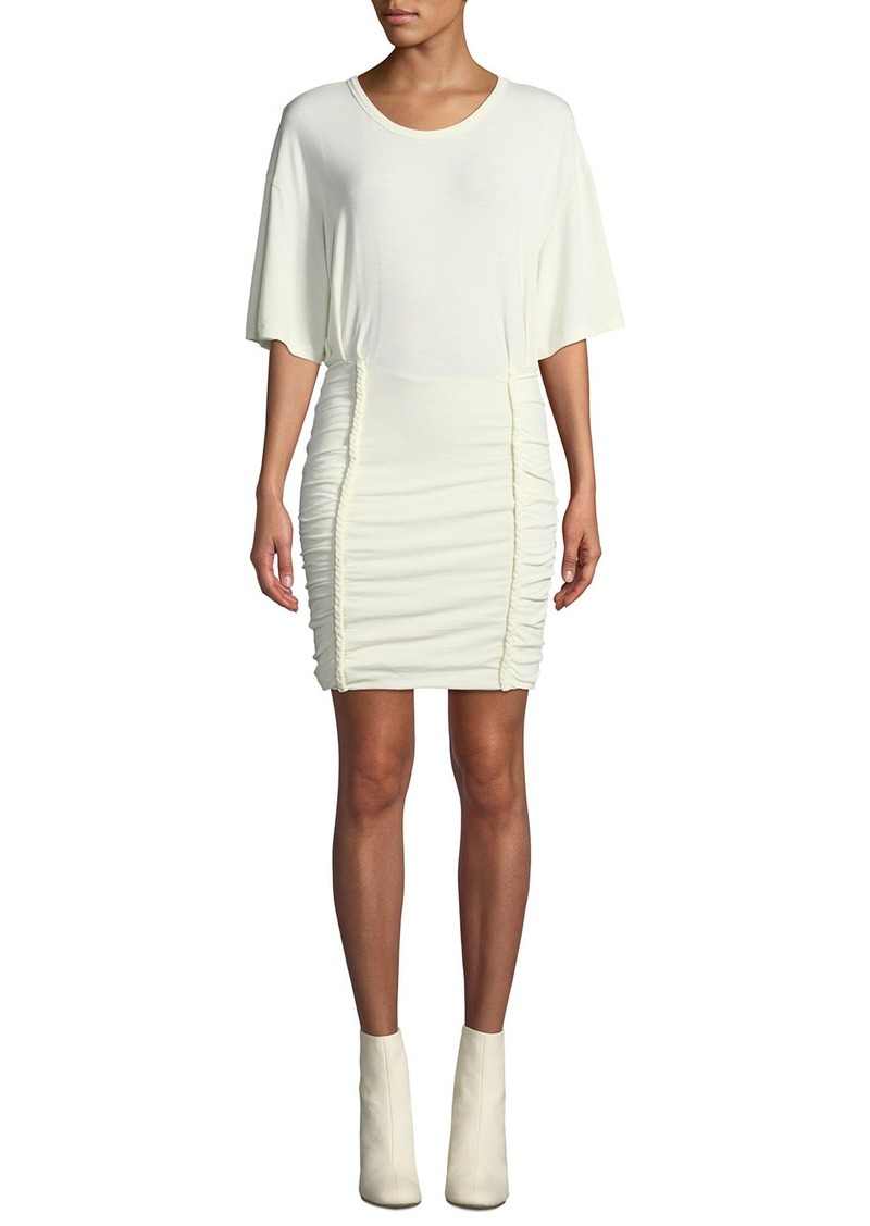 IRO Speedy Scoop-Neck Tee Dress with Braided Details