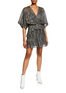 IRO Spina Metallic Ruffle Dolman-Sleeve Dress