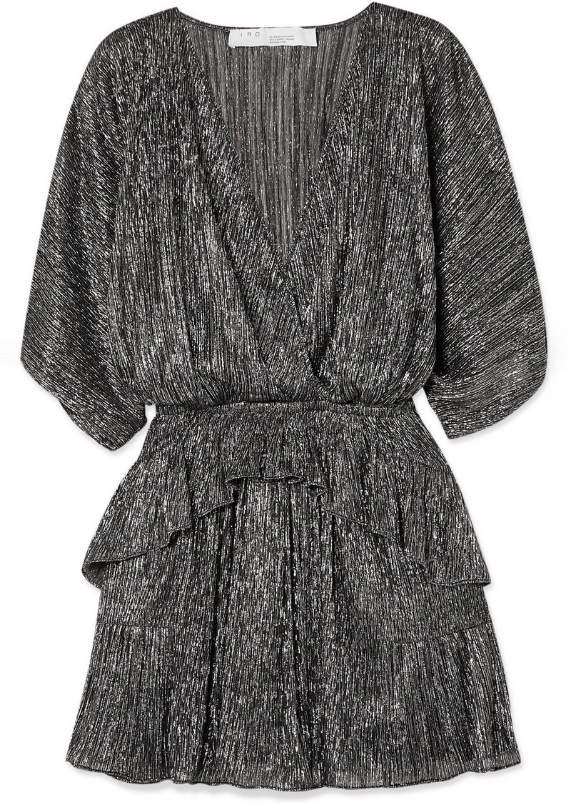 IRO Spina Wrap-effect Ruffled Lamé Mini Dress