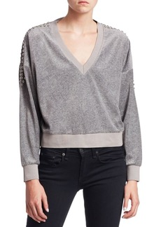 IRO Tapes Cropped V-Neck Sweatshirt