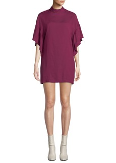 IRO Theifya Cape-Sleeve Mock-Neck Shift Dress