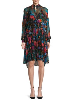 IRO Twist Floral Silk Shirtdress