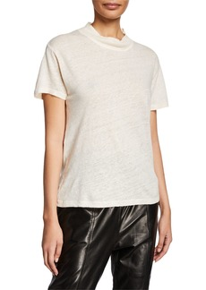 IRO Wake Mock-Neck Short-Sleeve Linen Top