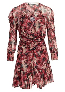 IRO Wick Long-Sleeve Ruched Flounce Dress