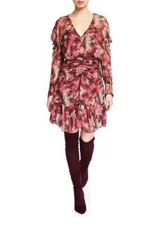 IRO Wick Printed Viscose Ruched Flounce Dress