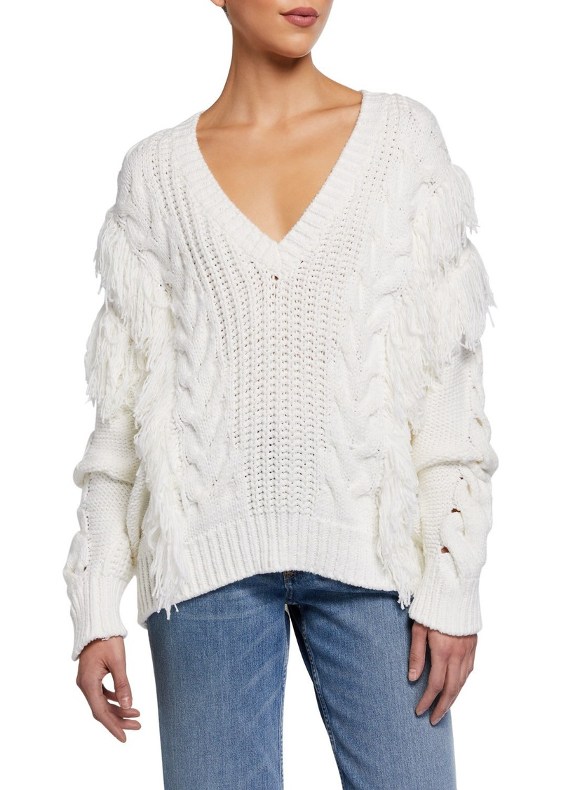 IRO Wynd Fringe Cable-Knit Sweater
