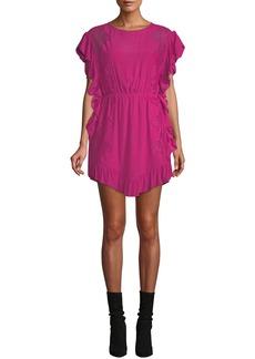 IRO Zestful Short-Sleeve Lace Ruffle Dress