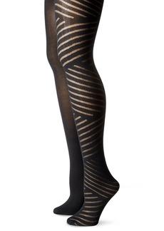 Isaac Mizrahi New York Women's Diagonal Stripe Tights (2-Pack)  Small/Medium