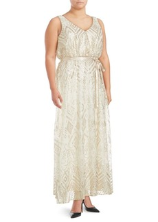 Isaac Mizrahi Sequined Sleeveless Gown