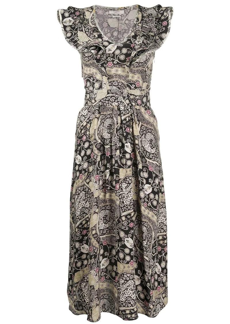 Isabel Marant abstract-print ruffled-neck dress