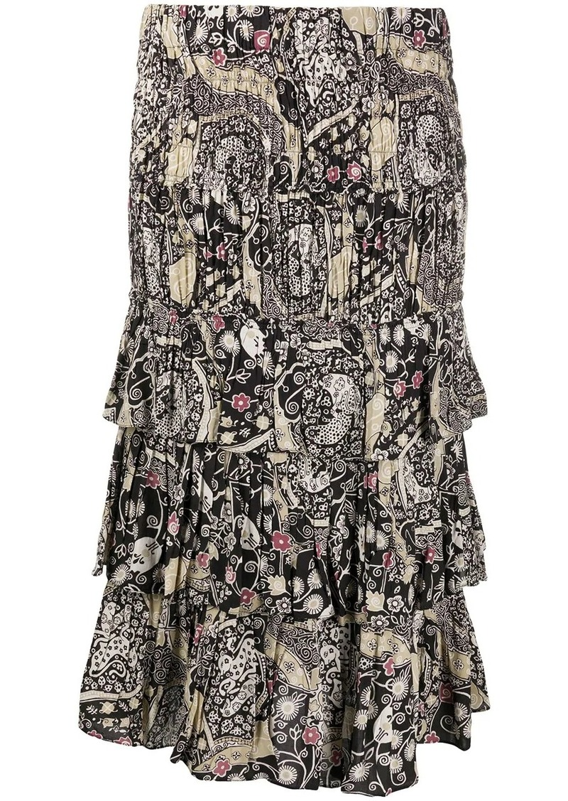Isabel Marant abstract-print tiered skirt