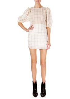 Isabel Marant Adelaide Short-Sleeve Checked Organza Mini Dress