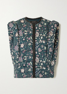 Isabel Marant Adiena Faux Leather-trimmed Quilted Floral-print Cotton Vest