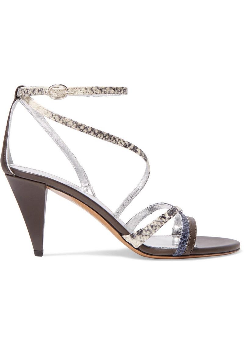 Isabel Marant Afka Snake-effect Leather Sandals