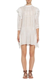 Isabel Marant Alba Long-Sleeve Ruffle Shift Dress
