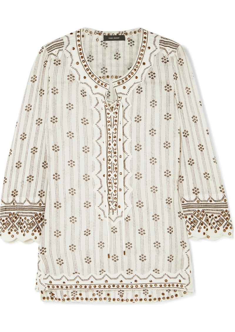 Isabel Marant Alicia Lace-up Embellished Printed Cotton-gauze Tunic