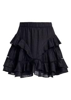Isabel Marant Alikaya A-Line Lace Eyelet Linen Flutter Skirt