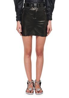Isabel Marant Amel Shiny Silk Side Ruched Mini Skirt