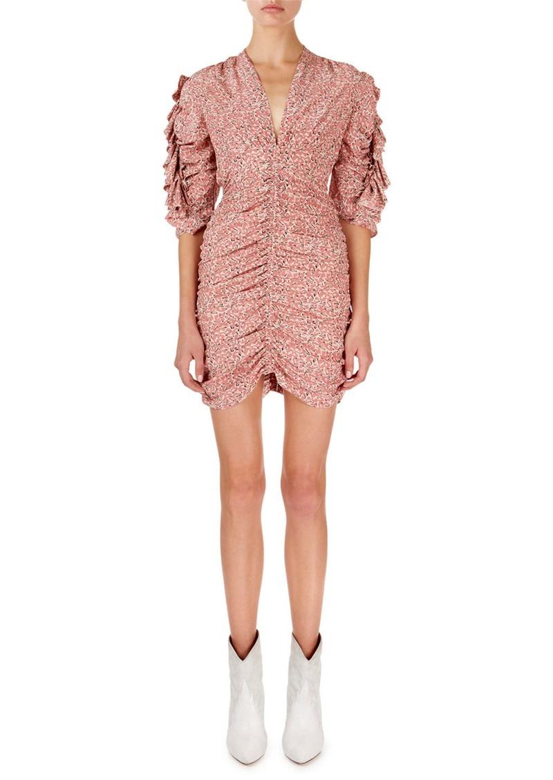 Isabel Marant Andor Floral Ruched-Seam Mini Dress