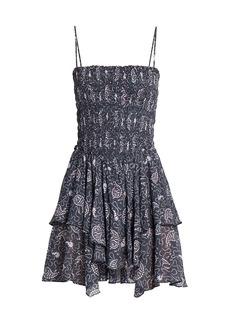 Isabel Marant Anka Smocked Ruffle Mini Dress