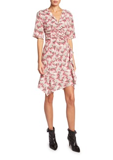 Isabel Marant Arodie Short-Sleeve Abstract-Print Dress