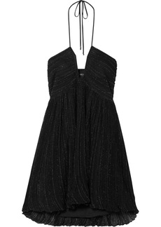 Isabel Marant Babs Metallic Knitted Halterneck Mini Dress