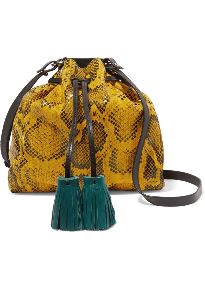 Isabel Marant Beeka Tasseled Snake-effect Leather Shoulder Bag
