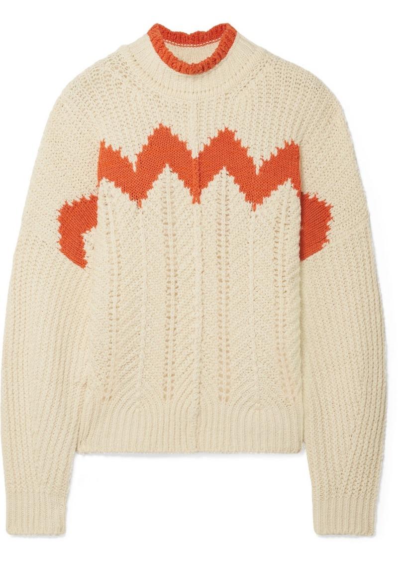 Isabel Marant Bell Intarsia Paneled Open-knit Cotton-blend Turtleneck Sweater