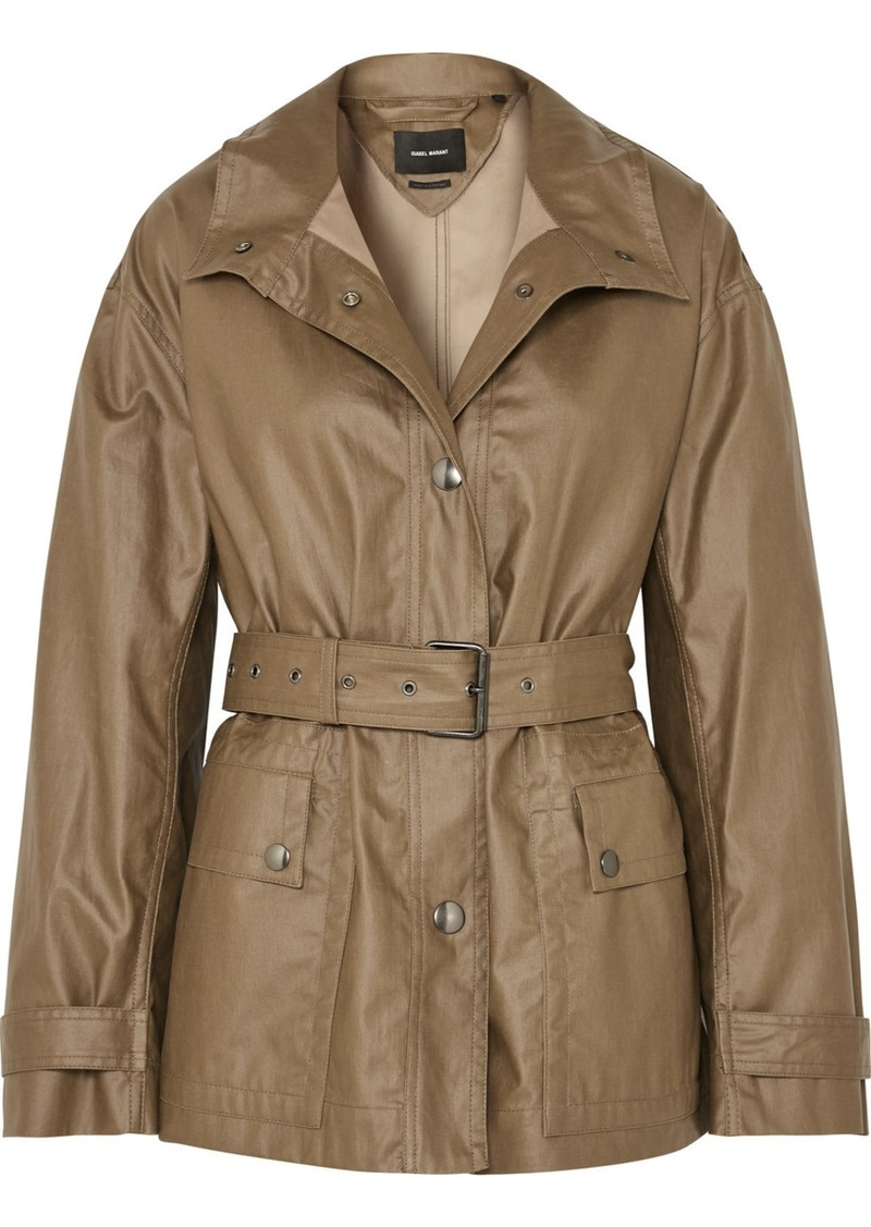 Isabel Marant Belted Coated Cotton-canvas Jacket