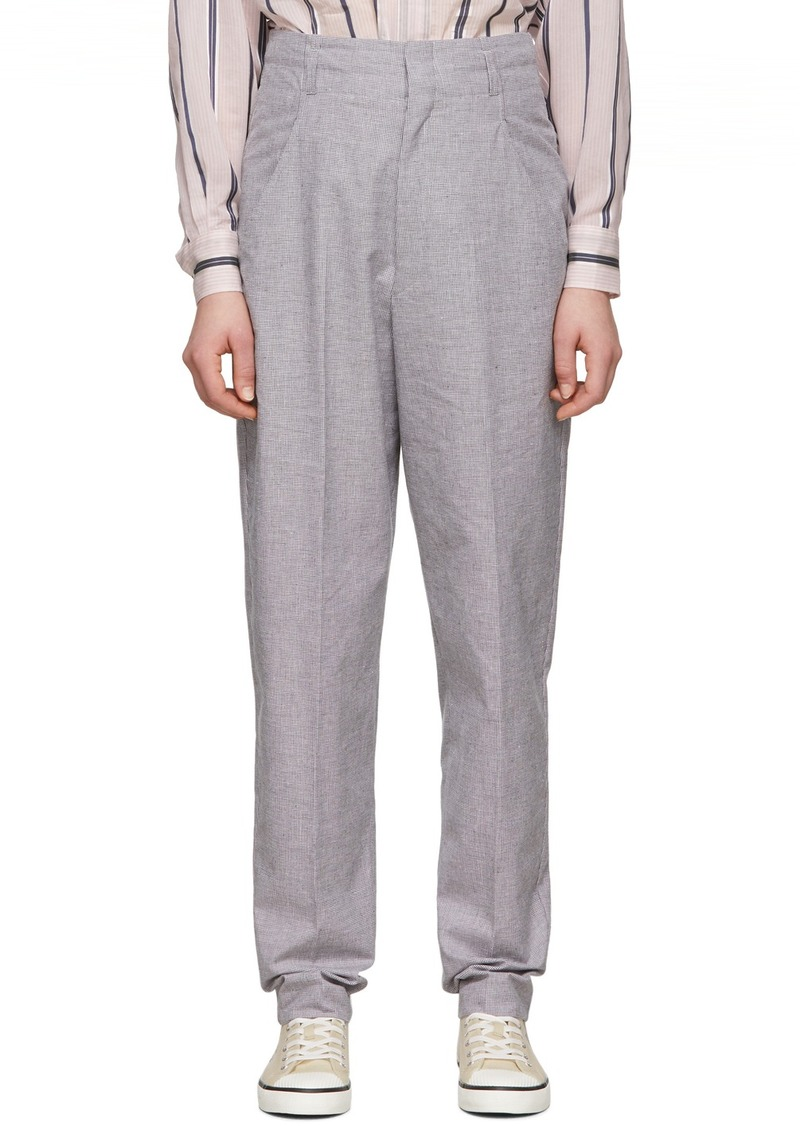 Isabel Marant Black & Pink Linen Loulia Trousers