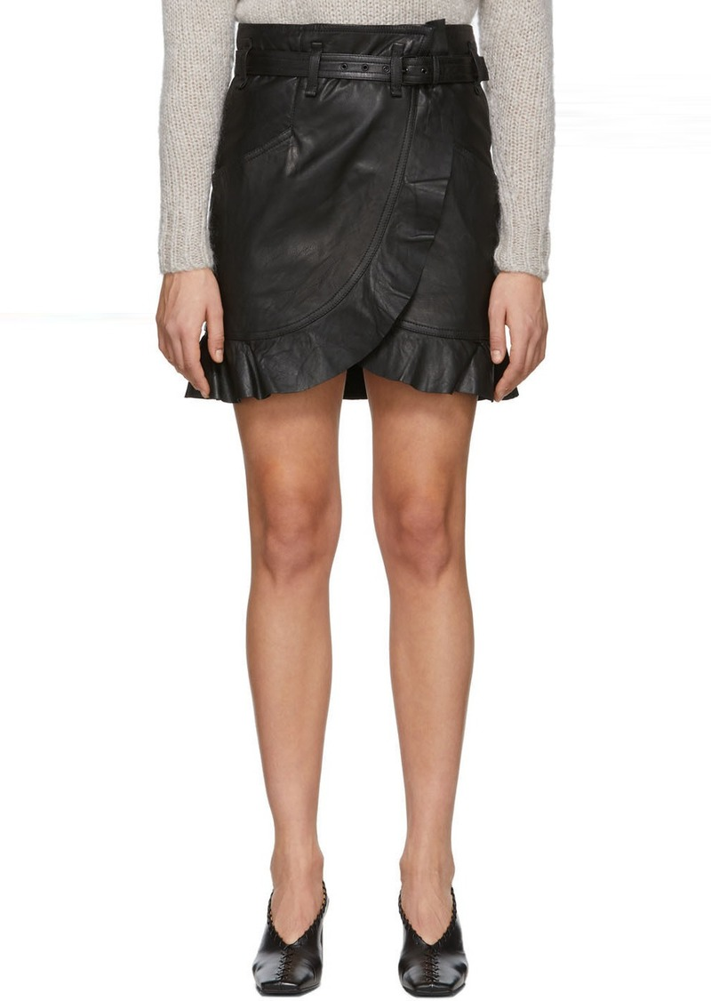 Isabel Marant Black Leather Qing Miniskirt