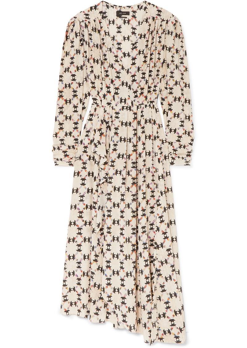 Isabel Marant Blaine Asymmetric Printed Stretch-silk Crepe De Chine Maxi Dress
