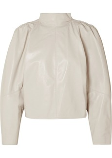 Isabel Marant Caby Gathered Leather Top