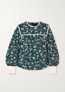 Isabel Marant Casey Silk-trimmed Floral-print Cotton Blouse