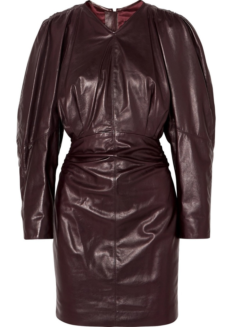 Isabel Marant Celini Ruched Leather Mini Dress