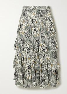 Isabel Marant Cencia Shirred Tiered Floral-print Crepe Midi Skirt