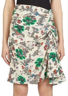 Isabel Marant Cereny Printed Draped Silk Skirt