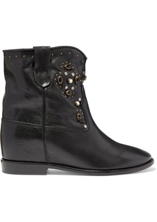 Isabel Marant Cluster Embellished Leather Ankle Boots