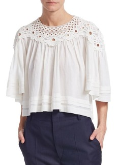 Isabel Marant Cotton Lace Trimmed Top