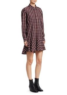 Isabel Marant Ondria Cotton Plaid Shirt Dress