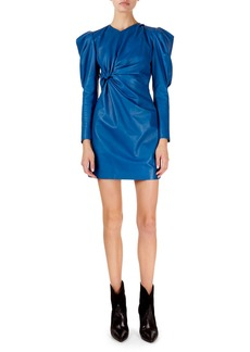 Isabel Marant Cove Puffed-Sleeve Twisted Front Leather Mini Dress