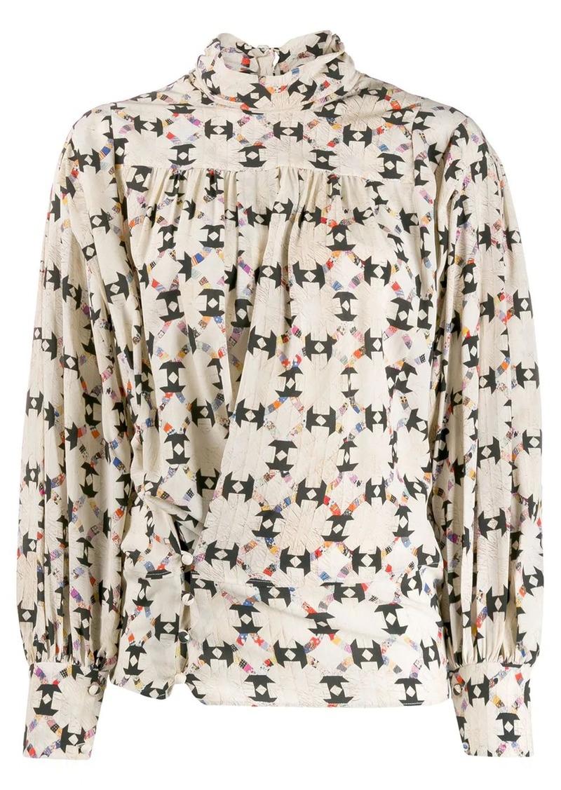 Isabel Marant cowl neck geometric print blouse