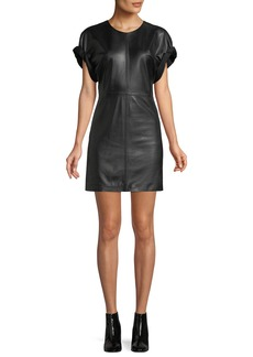 Isabel Marant Crewneck Short-Sleeve Lamb Leather Mini Dress