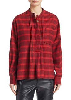 Isabel Marant Dacyo Flannel Check Henley Blouse
